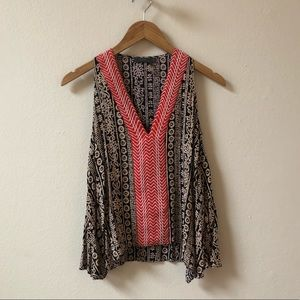 THML Anthropologie embroidered black red tank top